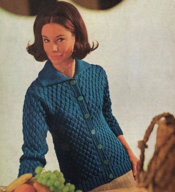 Classic Cardigan Knitting Pattern : Vintage Knitting Pattern Ladies Cardigan 32 to 42 inches