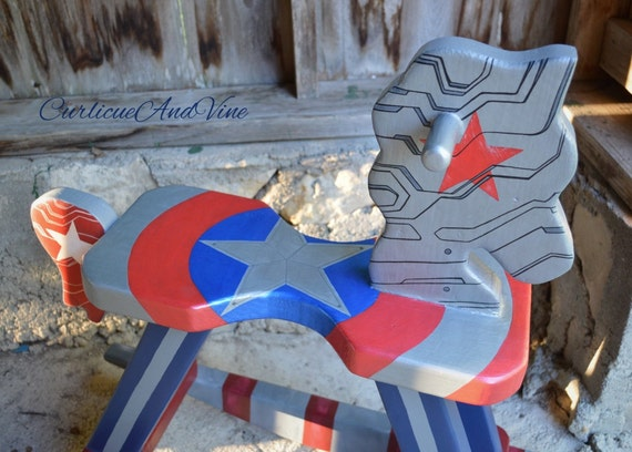 Winter Soldier-Captain America Inspired Rocking Horse-Marvel-Bucky Barnes-Steve Rogers-Super Soldier-Baby-Boy-Girl-Nursery