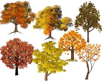 Tree Pack, Four Seasons Image, Four Season Tree Cutout, Large Four Seasons Poster, 23 Pages, Season Tree Pack, Tree Transfers, Tree Template