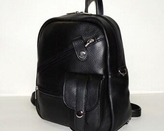 "Black leather backpack ""Alisa"""