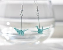 Origami Crane Earrings.Choose your own colour.Origami Gift.Handmade.Origami Earrings.Origami Jewellery.Paper Jewellery.Origami
