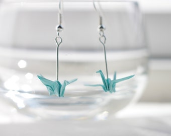 Origami Crane Earrings.Choose your own colour.Origami Gift.Handmade.Origami Earrings.Origami Jewellery.Paper Jewellery.Miniature Origami
