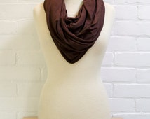 Infinity Scarf Nursing Cover - Cocoa Brown Breastfeeding Scarf with Brown Edges Eco-friendly Bamboo Cotton Breastfeeding Cover Ready to Ship