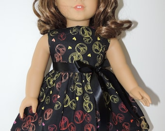 "18"" Doll Clothes -Handmade - Peace Sign Dress"