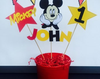 MICKEY MOUSE Centerpiece Personalized  Birthday Party Decorations