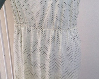 Sun dress by iconic vintage brand Chelsea Girl. Lemon yellow with blue polka dots! s14-16