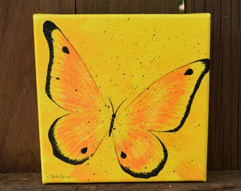 Original Yellow and Orange Butterfly handpainted on a 6x6 Canvas