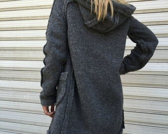 Loose Winter Cardigan / Hooded Jacket / Women Wool Vest / EXPRESS SHIPPING