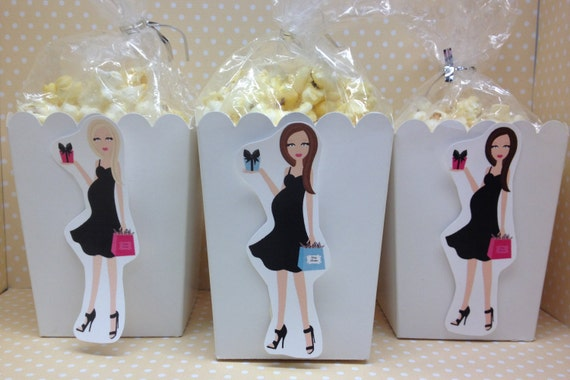 New Mom Tiffany Girl Or Boy Baby Shower Popcorn Or Favor Boxes