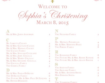 Pink Floral Christening/ Baptism Table Seating Chart -Printable Table Seating Chart Pink & Gold