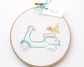 Hoop Art. Embroidered Vespa Poster/ Wall Decor. Scooter Nursery Art. Teal Orange Girl Nursery Decor. Retro Nursery. Baby Shower Gift. Flower