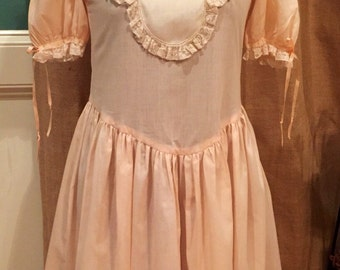 Vintage girls dress with lace and hand embroidery