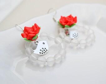 Earrings Roses and birds - Creole style - bohemian earrings - romantic