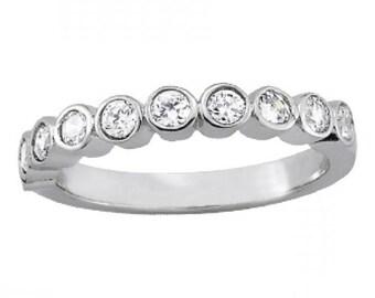 050 carat diamond bezel wedding band ring 14k 18k or platinum diamond wedding bands for