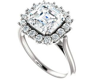 8mm Asscher Cut Forever One Moissanite & Diamond Halo Engagement Ring, 2 Carat, Moissanite Engagement Rings for Women Solitaire Rings 14k