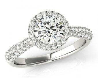 1 Carat Round Diamond and Halo Engagement Ring 18k White Gold 1.35 carat total weight - GIA Diamond - 18kt or Platinum