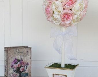 Rose Topiary, Artificial Flower Arrangement, Faux Flower Arrangement, Shabby Chic, Wedding, Silk Flower Centerpiece, Pink and White, Large