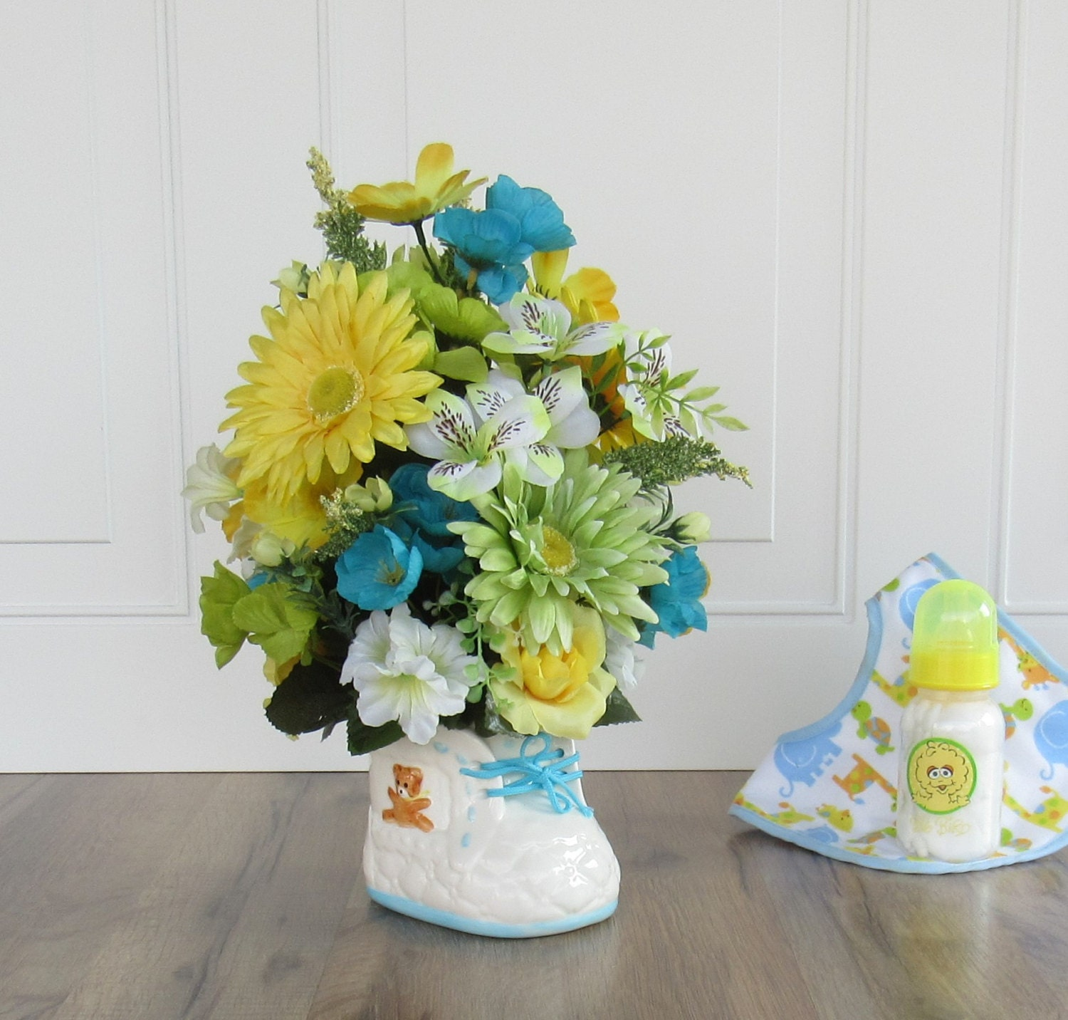 Baby Shower Centerpiece Artificial Flower Arrangement Faux