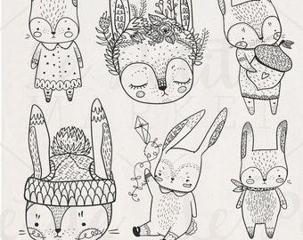 Cute Hand Drawn Digital Rabbits Clip Art, Hand Drawn Bunnies, Digital Bunny Rabbits Rabbit digistamp, Rabbit Digital Stamps, Rabbit Clipart