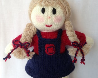 Knitted Doll with Plaits. Australian made Toy.