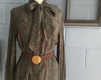 Tie-Neck Paisley Button-up Blouse by {Samuel Robert by Peter Hasti Androu} / Long-sleeved Olive & Rust Dress Shirt, Size Large