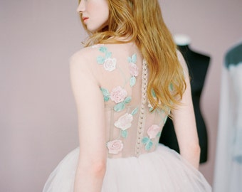 "Embroidered wedding dress ""Dolores"" - Unique wedding dress, Embroidered flower wedding gown, Delicate pink a line wedding dress, Milamira"