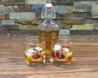 Personalized Whiskey Glasses, Tumblers with Flask, Groomsmen Gift, Best Man, Groom, Gifts for Men, Grandfather Gift