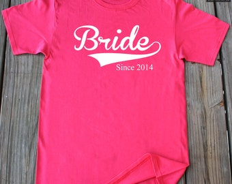 Bride Since 2014 T-Shirt Gift For Fiance New Wife Est 2014 Anniversary Gift Tee