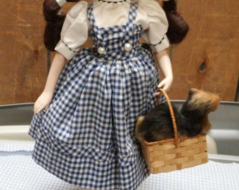 Franklin Mint Wizard of Oz Dorothy with Toto in basket Porcelain Doll 17 inches with stand