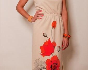 1970's Alfred Shaheen  Poppy Dress