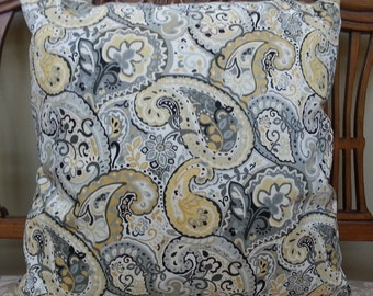 KRAVET-Decorative Pillow Cover with Paisley Patterned Fabric / 20 x 20 /Ready to Ship!