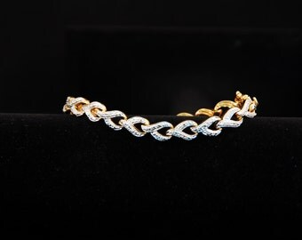 Diamond Infinity Heart Bracelet in goldtone