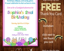 CANDYLAND BIRTHDAY Invitations or Party Favor Stickers- Digital File