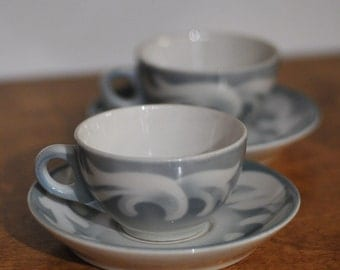 Syracuse China SY618 Two Tea Cups and Two Saucers - Blue With White Scroll - 1955 & 1960, Tea, Coffee, Cup and Saucer, Syracuse, NY