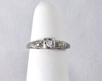 14K White Gold .08 Ct Billiant Cut Diamond Engagement Ring, Wedding Band or Stacking Ring. Vintage, c. 1930'S LB116