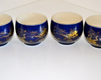 4 Blue and Gold Oriental Tea Cups