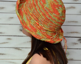 Sun raffia hat, straw hat crochet, sun hat women, orange sun hat, floppy straw hat, crochet bucket hat, brimmed sun hat, floppy beach hat