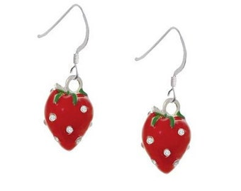 Strawberry earrings fruit jewelry red berries earrings for Strawberry shortcake necklace jewelry
