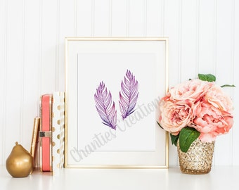 Two Beautiful Pink and Purple Watercolor Feathers Wall Art Printable 8x10