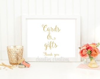 Cards and Gifts Table Wedding Sign Printable Gold