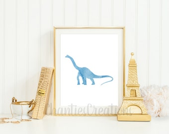 Brachiosaurus Light Blue Watercolor Wall Art Printable. Dinosaur Wall Art Printable. Little Boys Room Printable Wall Art.