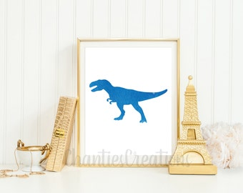 Tyrannosaurus Rex Dark Blue Watercolor Wall Art Printable. Dinosaur Watercolor Wall Art Printable. Boys Room Dinosaur Wall Art.