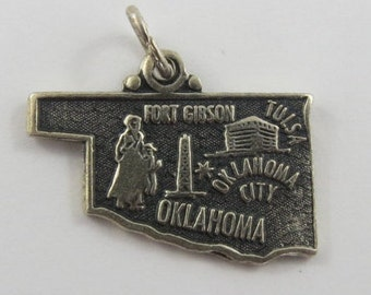 Map of Oklahoma State Sterling Silver Vintage Charm For Bracelet