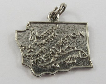 Map of Washington State-Evergreen State Sterling Silver Vintage Charm For Bracelet