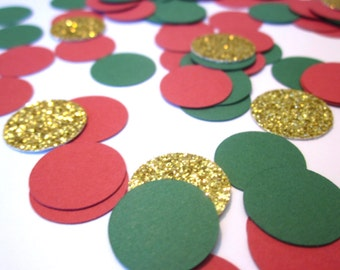 Christmas Confetti, Holiday Party Decor, Christmas Party Decor, Red, Green and Gold Confetti