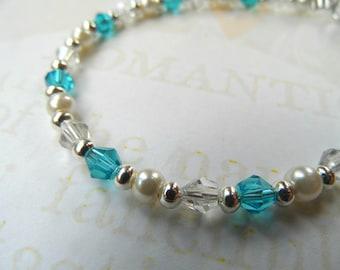 Bridal bracelet, something blue bracelet, bride bracelet, wedding bracelet, bridemaids bracelet, crystal bead bracelet, something blue