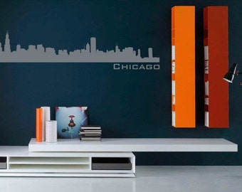 Chicago Skyline Gray Wall Decal