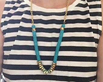 Turquoise and Gold Handmade Necklace