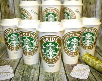 Bridesmaid Gift, Starbucks Coffee Cup Personalized & Name • Tumbler • Mug (Genuine Starbucks Cup, wedding photo props, bridesmaid gift idea)