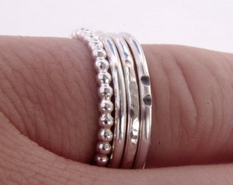 Silver stacking set, Thin band stacking rings, four ring stacked set